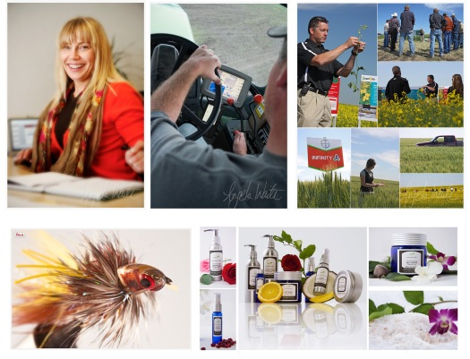 Examples of commercial portrait, environmental portrait, field tour, macro shoot of fly fishing flies, and product shoot.